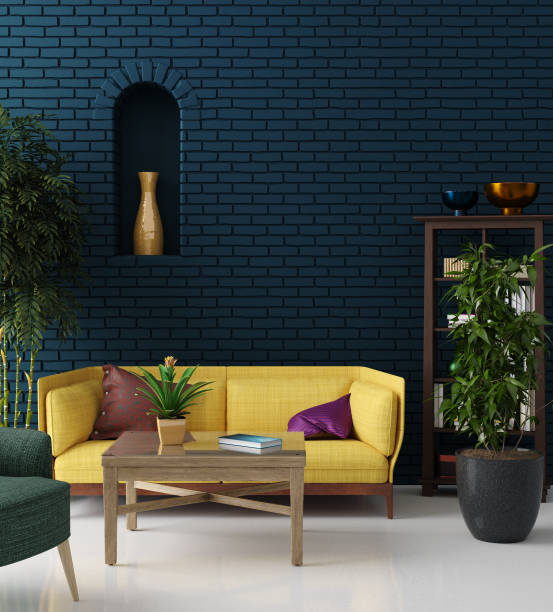 colorful hipster living room with blue brick wall and yellow sofa, bohemian style - home decor boho imagens e fotografias de stock