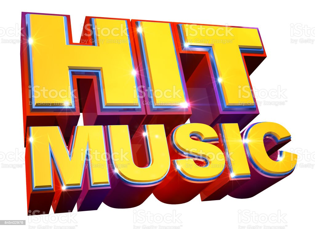 Colorful Hit Music logo - 3d illustration stock photo