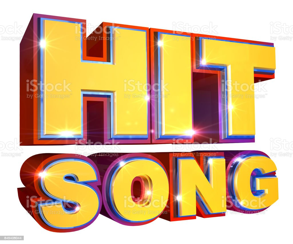 Colorful Hit Song logo - 3d illustration stock photo
