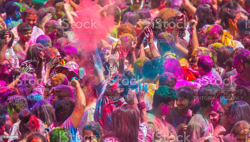 Colorful holi celebration. stock photo
