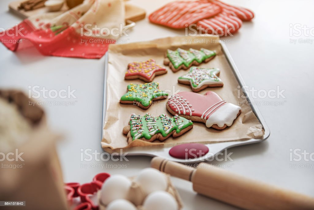 Colorful holiday cookies baked for special occasion royalty-free stock photo