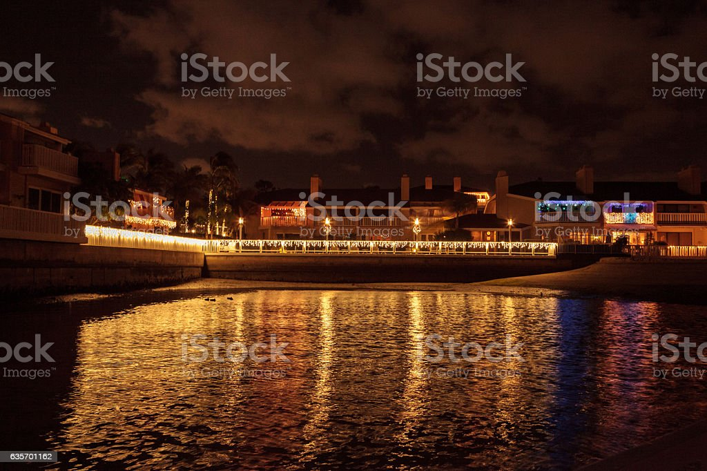 Colorful holiday lights on a boardwalk royalty-free stock photo