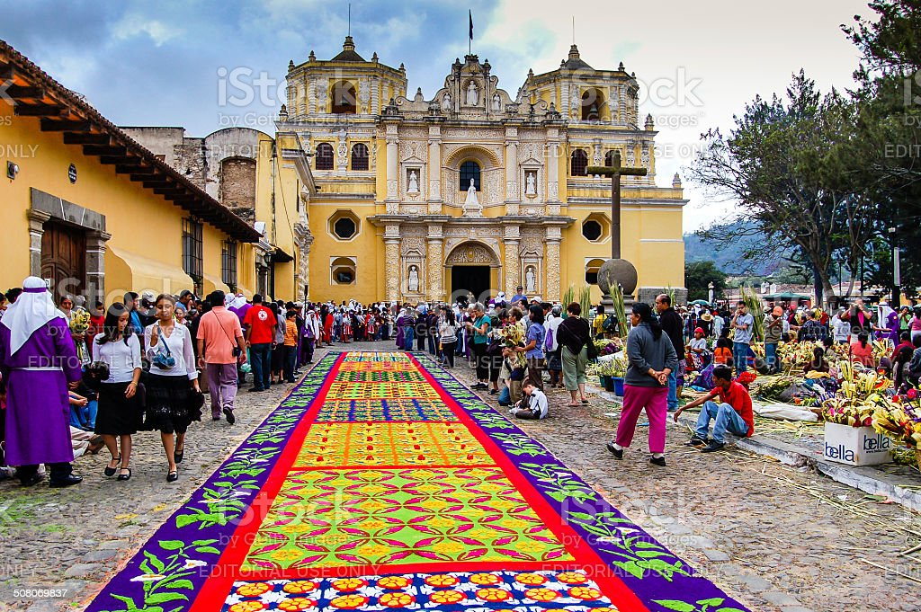 Colorful Holy Week carpet in Antigua, Guatemala stock photo