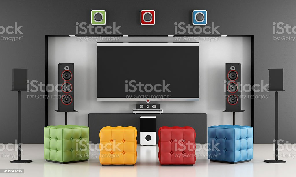 Colorful home cinema stock photo