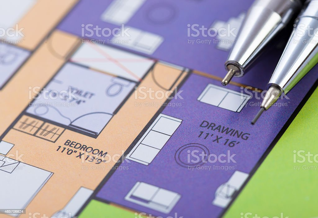 colorful home plan and tools stock photo