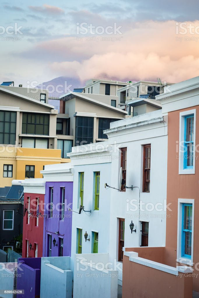 Colorful homes in the historic Bo-Kaap neighborhood in Cape Town stock photo