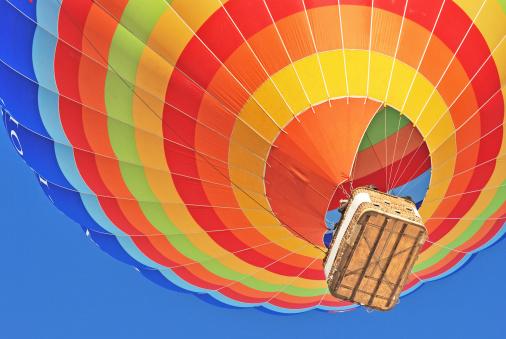Hot air ballon on the blue sky