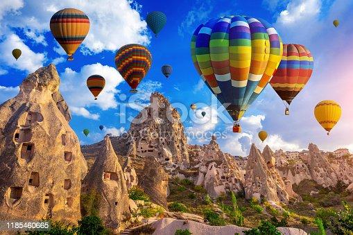 Colorful hot air balloon flying over Cappadocia, Turkey.