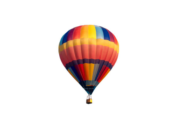 Colorful hot air balloon flying stock photo