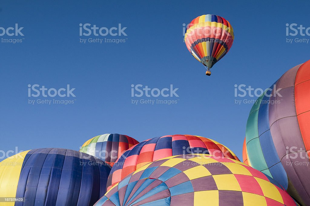 Colorful Hot Air Balloon Rising With Copy Space royalty-free stock photo