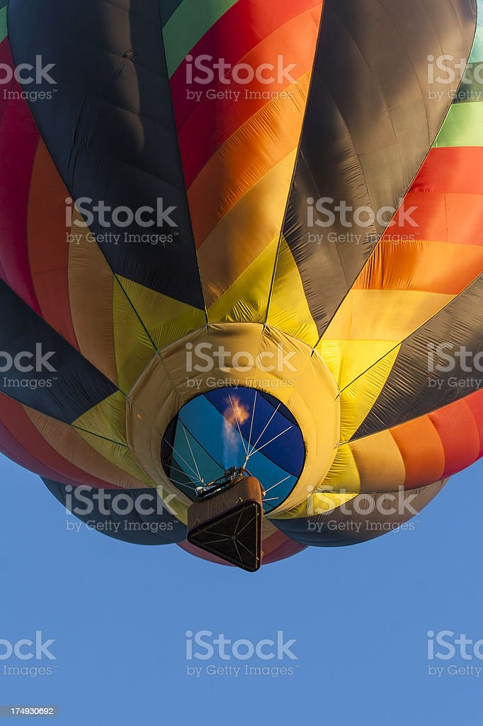 Colorful Hot Air Balloon With Flames royalty-free stock photo