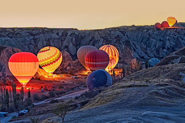 Colorful hot air balloons before launch   at Cappadocia stock photo
