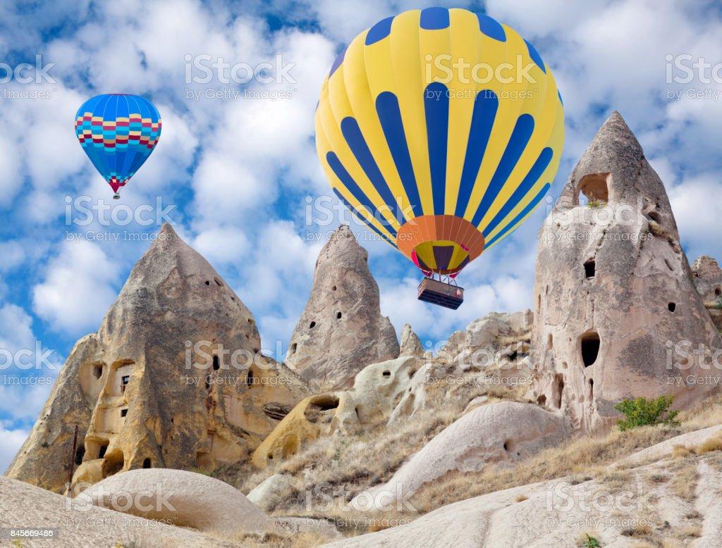 Colorful hot air balloons flying in Cappadocia, Turkey stock photo