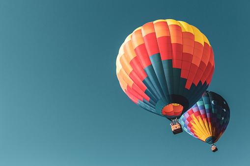 Colorful hot air balloons flying in New York
