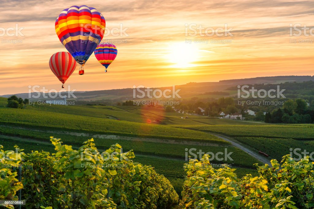 Bunte Heißluftballons fliegen über Champagner Weinberge bei Sonnenuntergang Montagne de Reims, Frankreich – Foto