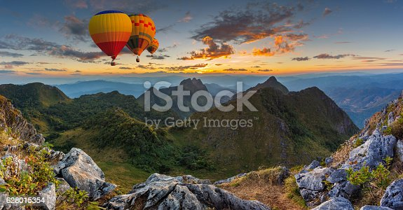 Colorful hot air balloons flying over on Doi Luang Chiang Dao, High mountain in Chiang Mai Province, Thailand