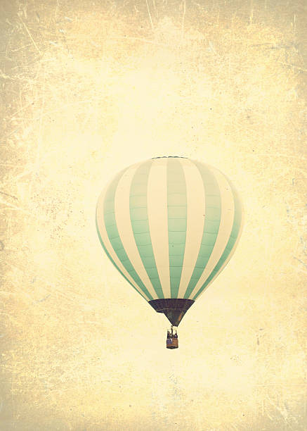 Colorful hot air balloons in flight stock photo