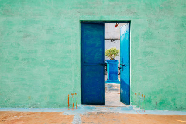 Colorful house exterior in India stock photo