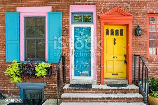 Colorful house facades in downtown Philadelphia Pennsylvania USA.