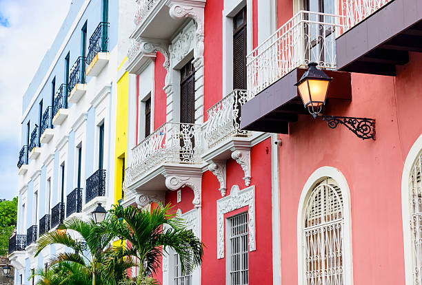 Colorful house facades of Old San Juan, Puerto Rico. stock photo