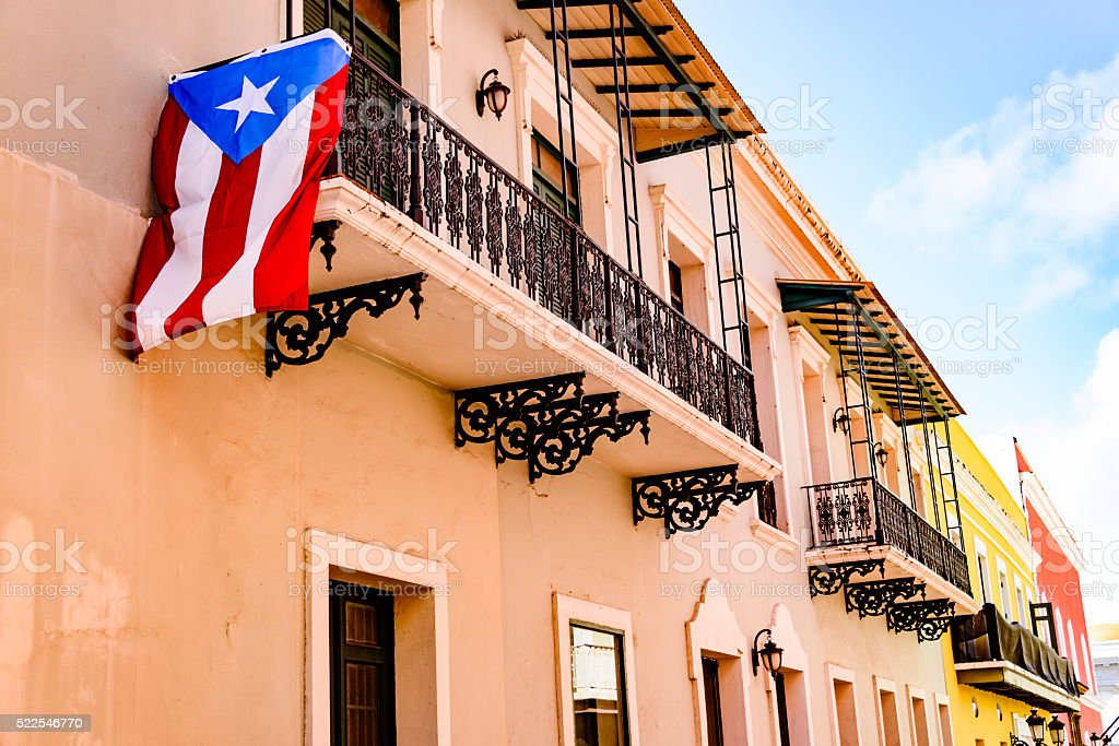 Colorful house facades of Old San Juan, Puerto Rico stock photo