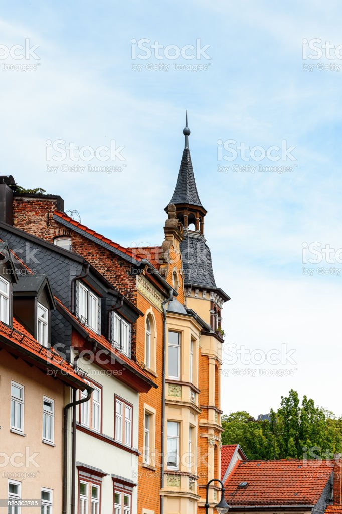 Colorful house in Eisenach, Thuringia, Germany stock photo