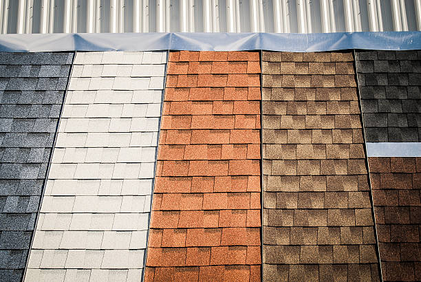 Colorful House Roof Shingles Samples on Display stock photo