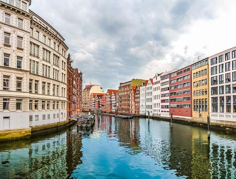 Colorful houses and Nikolaifleet in Altstadt quarter, Hamburg, Germany