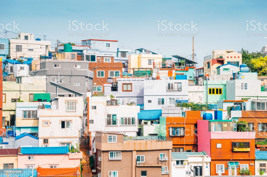 Colorful Houses At Gamcheon Culture Village In Busan Korea Stock