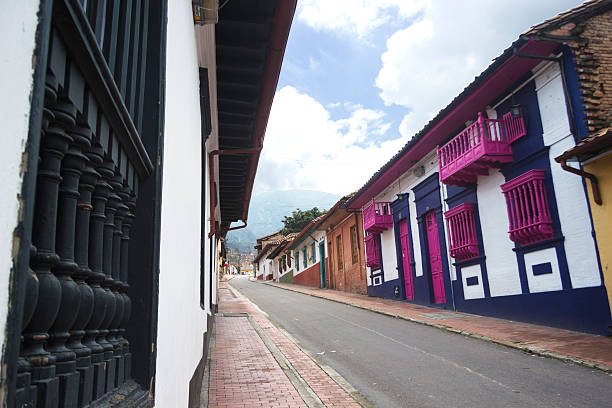 Colorful houses at la Candelaria stock photo