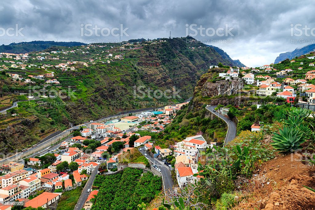 Colorful houses at Ponta do Sol, Madeira, Portugal stock photo