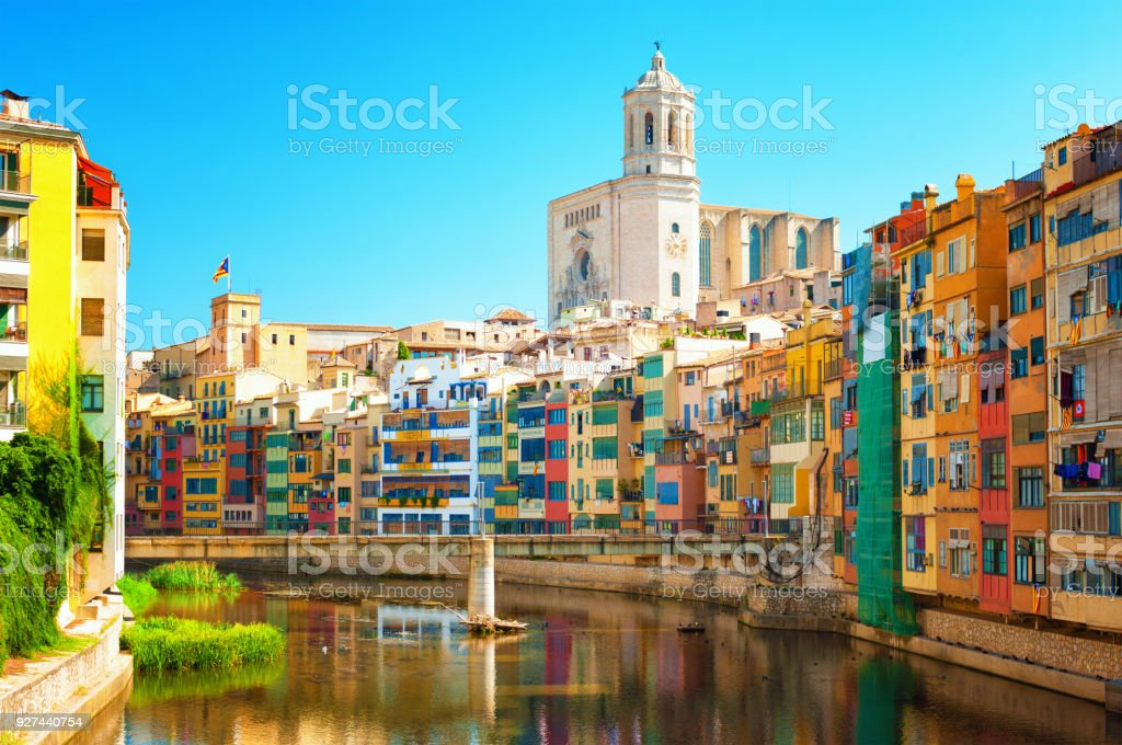 Colorful houses at river Onyar in Girona, Catalonia Spain stock photo