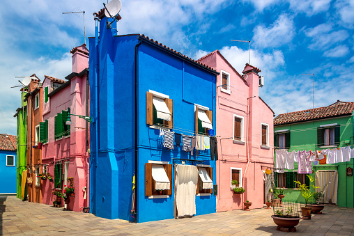 colorful houses, Burano Island, Venice