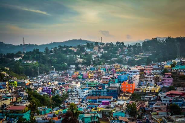 Colorful houses in a village near Ooty at Evening stock photo