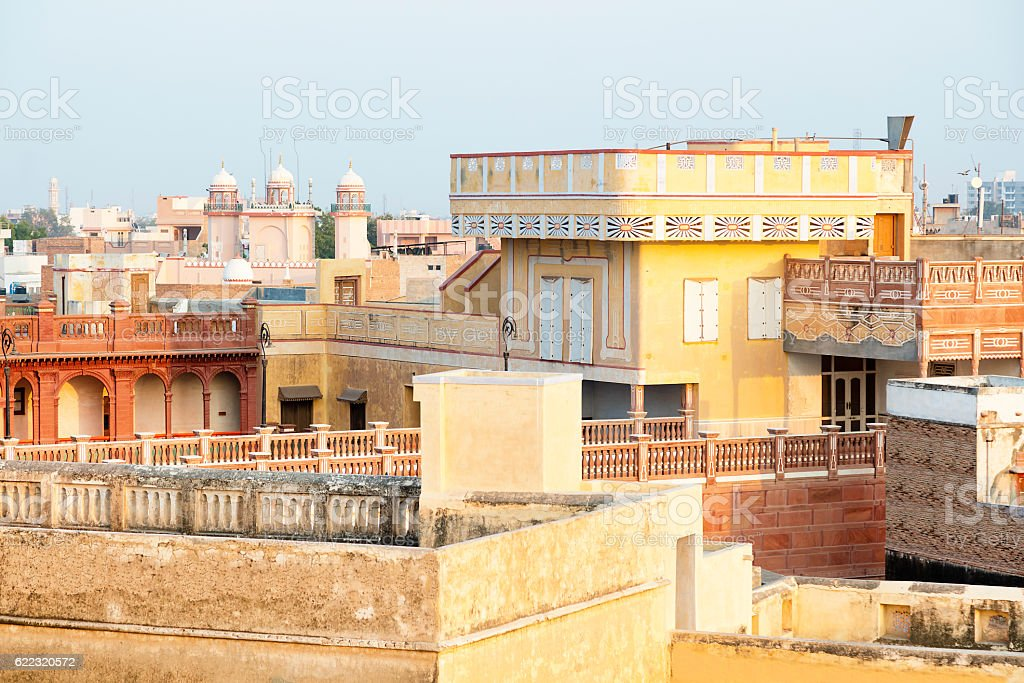 Colorful Houses in Bikaner, Elevated View at Dusk, Rajasthan, India stock photo