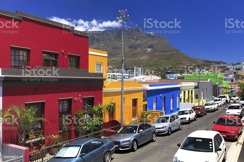 Colorful houses in Bo-Kaap, Cape Town stock photo