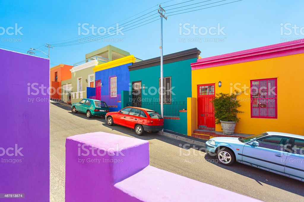 Colorful houses in Bo-Kaap - Malay Quarter in South Africa. stock photo