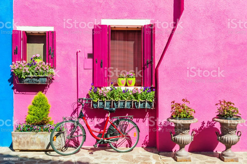 Colorful houses in Burano island near Venice, Italy stock photo