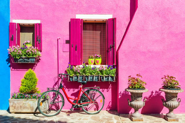 colorful houses in burano island near venice, italy - magenta stock photos and pictures