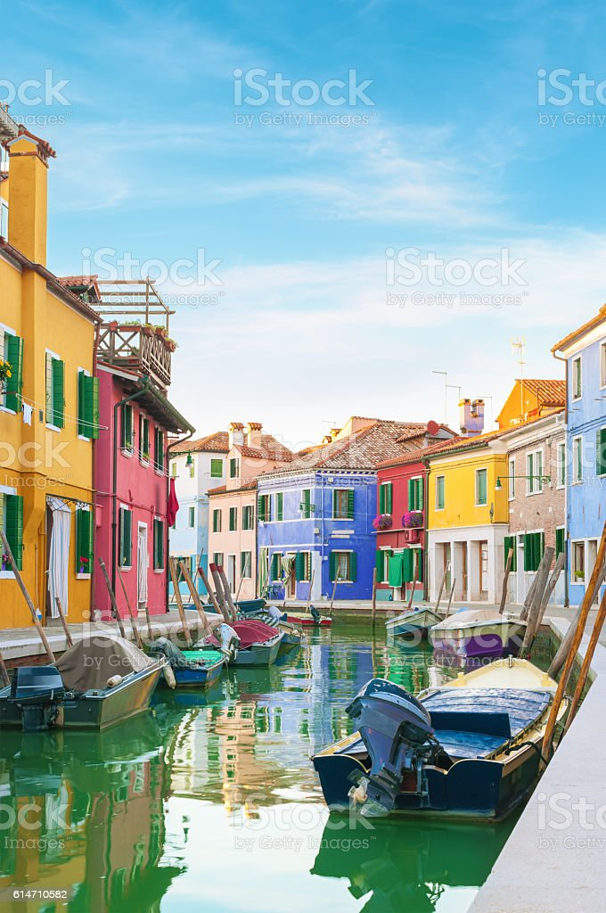 Colorful houses in Burano, Italy. stock photo