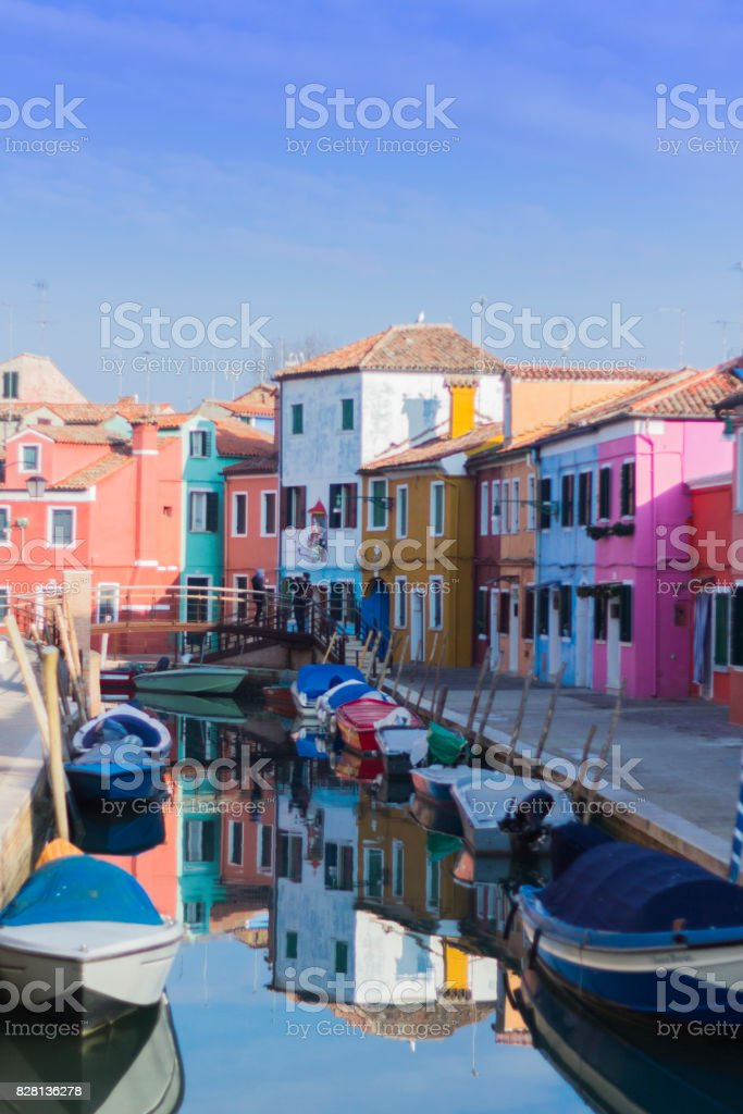 colorful houses in Burano stock photo