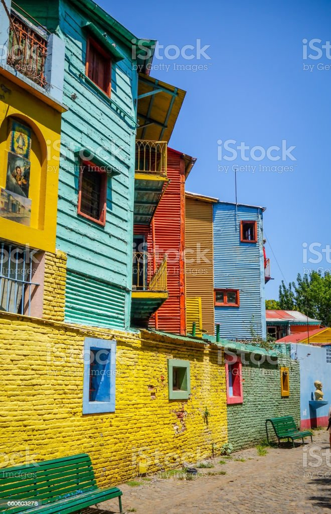 Colorful houses in Caminito, Buenos Aires stock photo