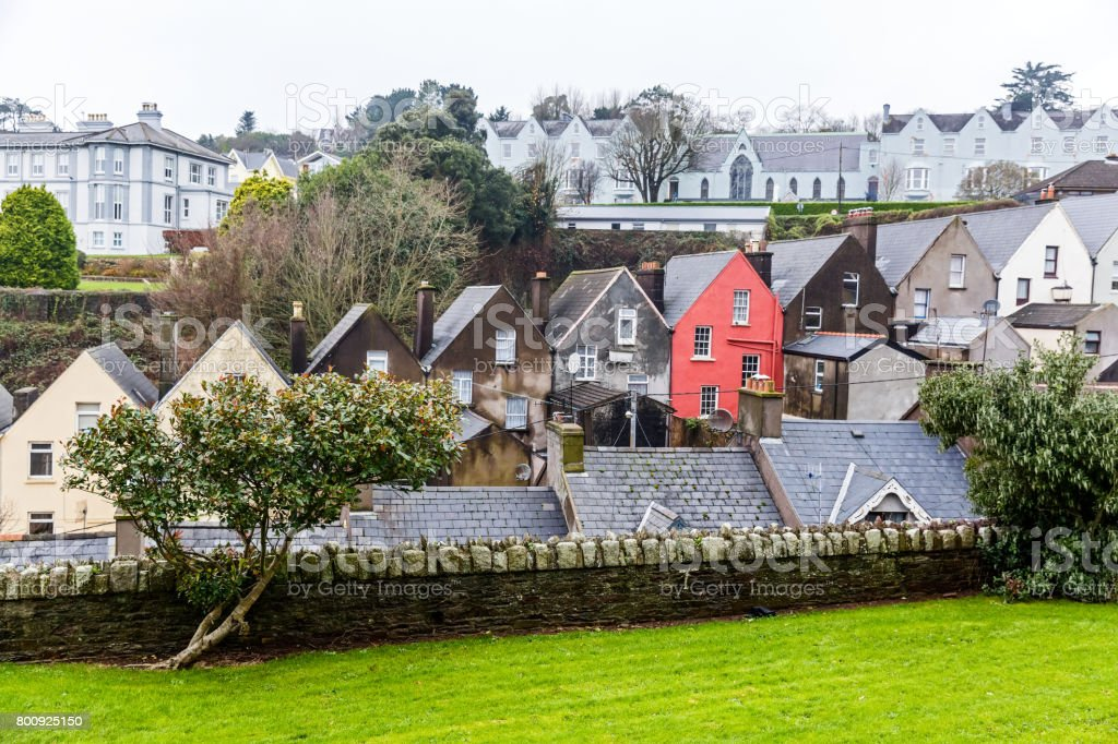 Colorful houses in Cobh stock photo