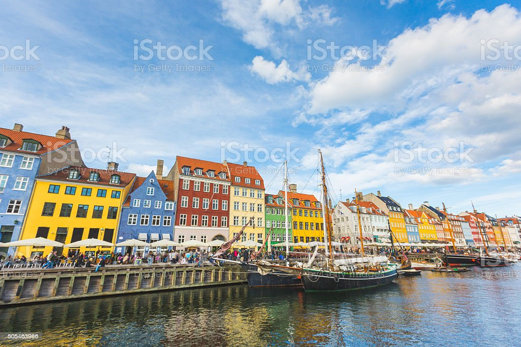 Colorful houses in Copenhagen old town stock photo
