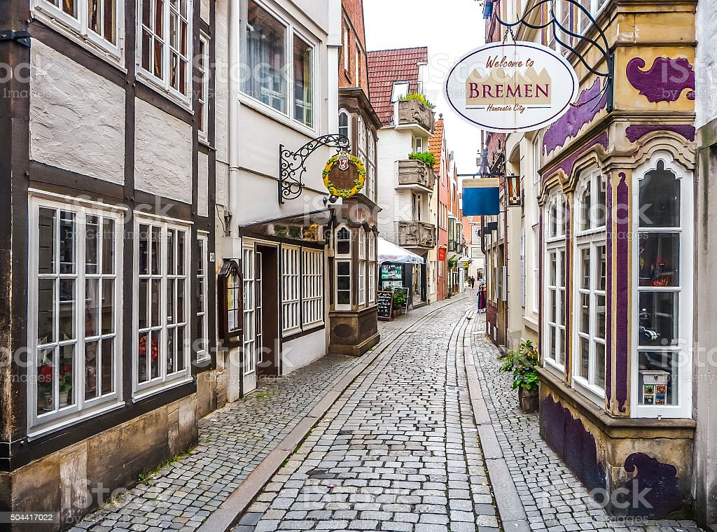 Coloridas casas en la famosa Schnoorviertel en Bremen, Alemania - foto de stock