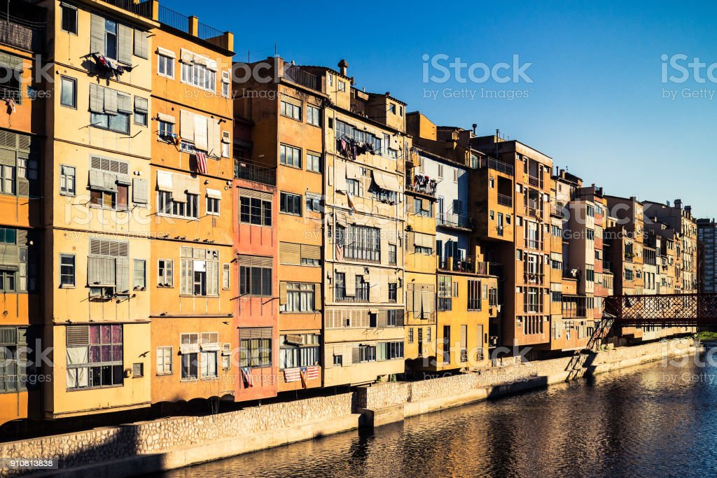 Colorful houses in Girona stock photo
