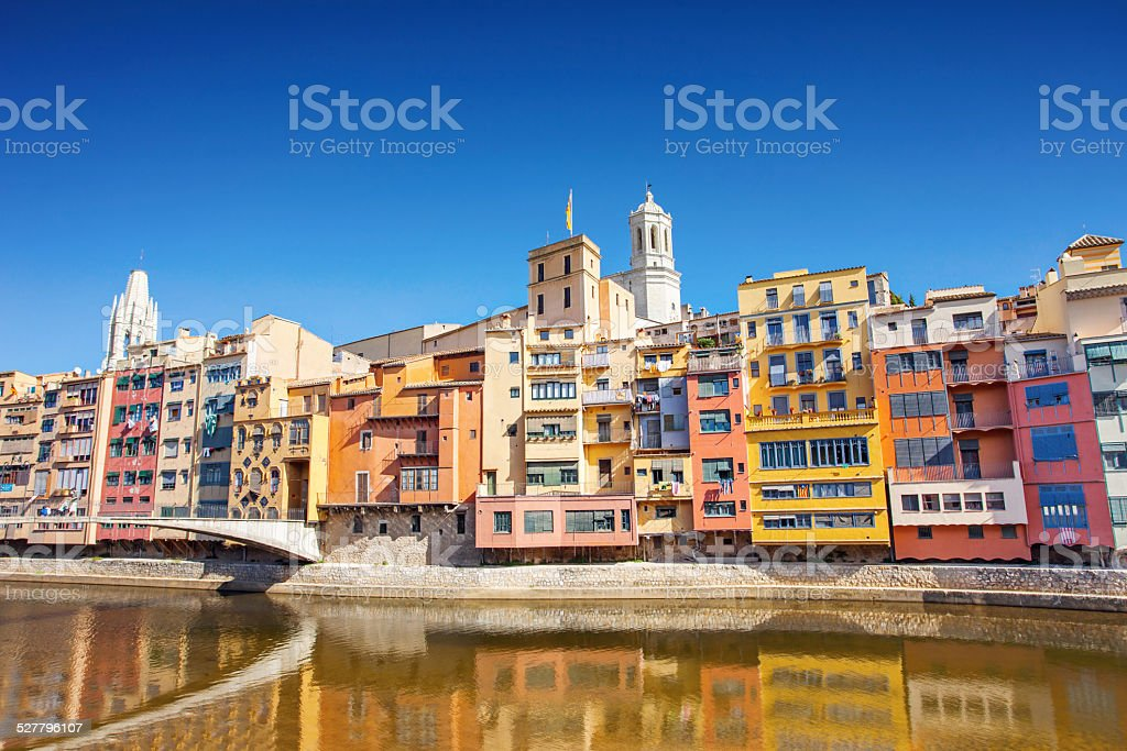 Colorful houses in Girona, Spain stock photo