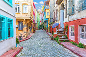 Colorful houses in Istanbul street, Fener area.