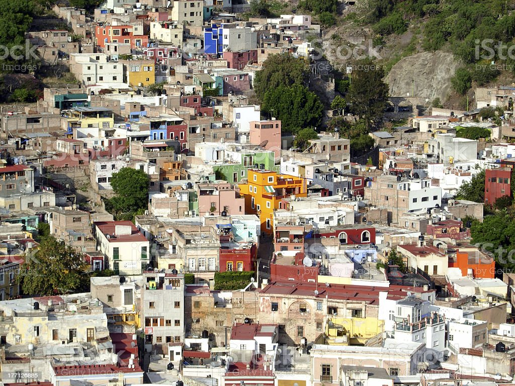Colorful houses in Mexico, wide royalty-free stock photo