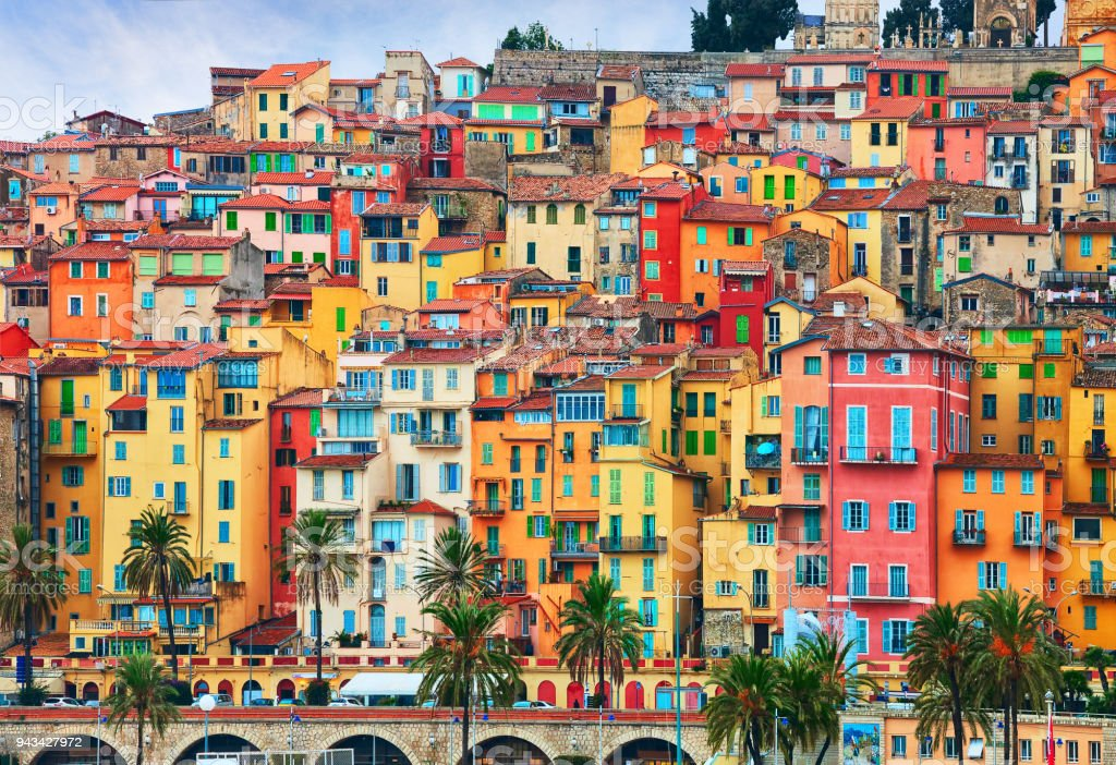 Colorful houses in old part of Menton, French Riviera, France stock photo